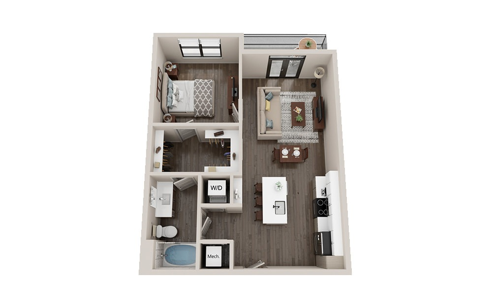 A1 - 1 bedroom floorplan layout with 1 bath and 703 square feet.