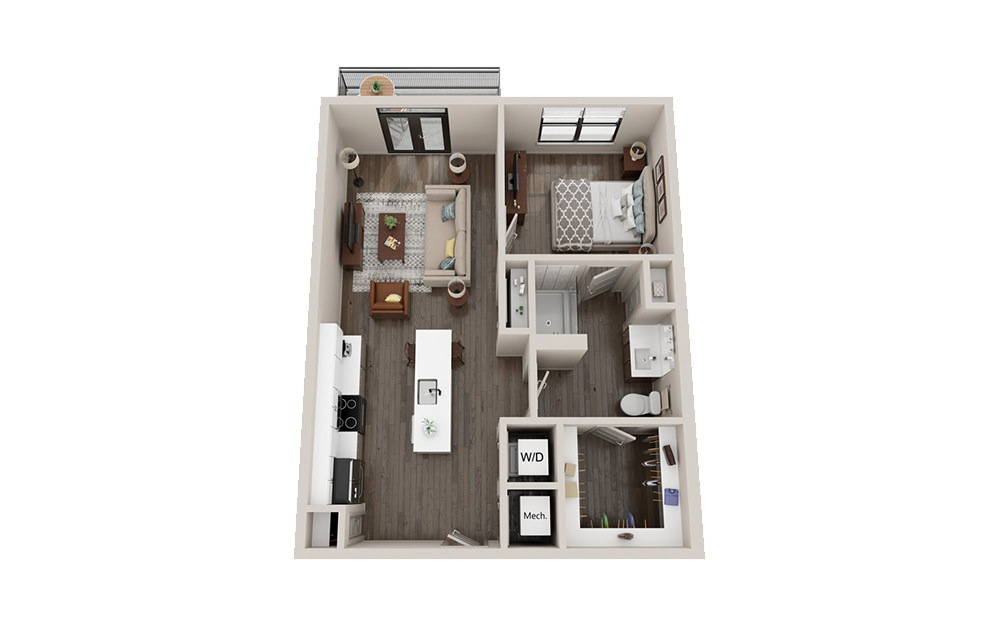 A2 - 1 bedroom floorplan layout with 1 bath and 720 square feet.