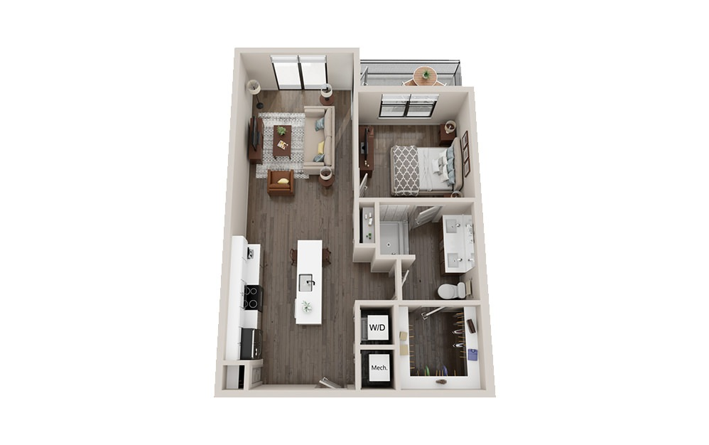 A3 - 1 bedroom floorplan layout with 1 bath and 756 square feet.