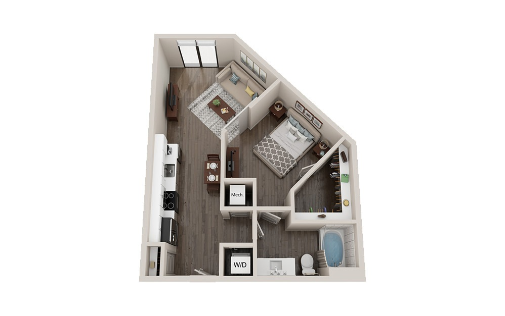 AL1 - 1 bedroom floorplan layout with 1 bath and 615 square feet.