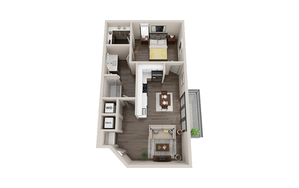 AL2 - 1 bedroom floorplan layout with 1 bath and 680 square feet.