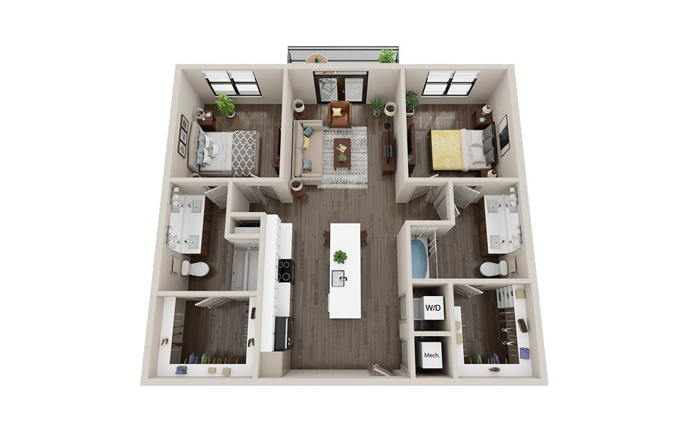 B1 - 2 bedroom floorplan layout with 2 baths and 1049 square feet.
