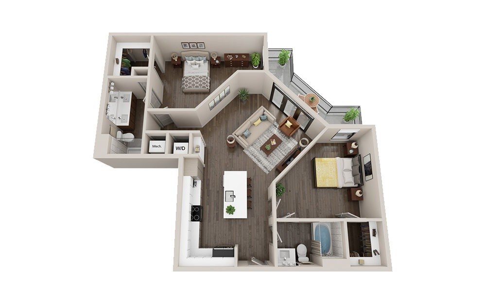 B2 - 2 bedroom floorplan layout with 2 baths and 1108 square feet.