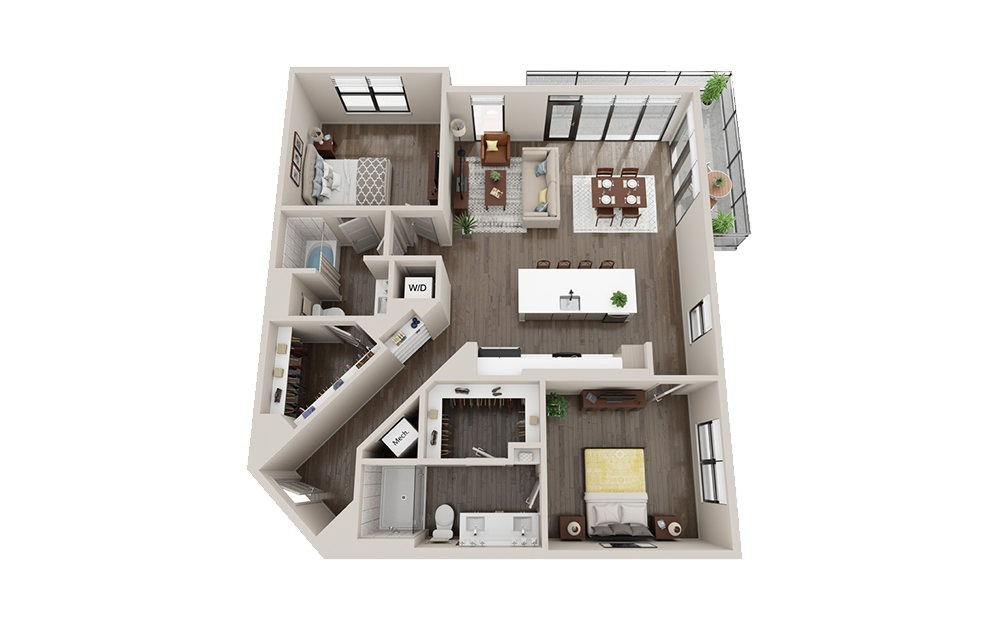 B3-A - 2 bedroom floorplan layout with 2 baths and 1333 square feet.