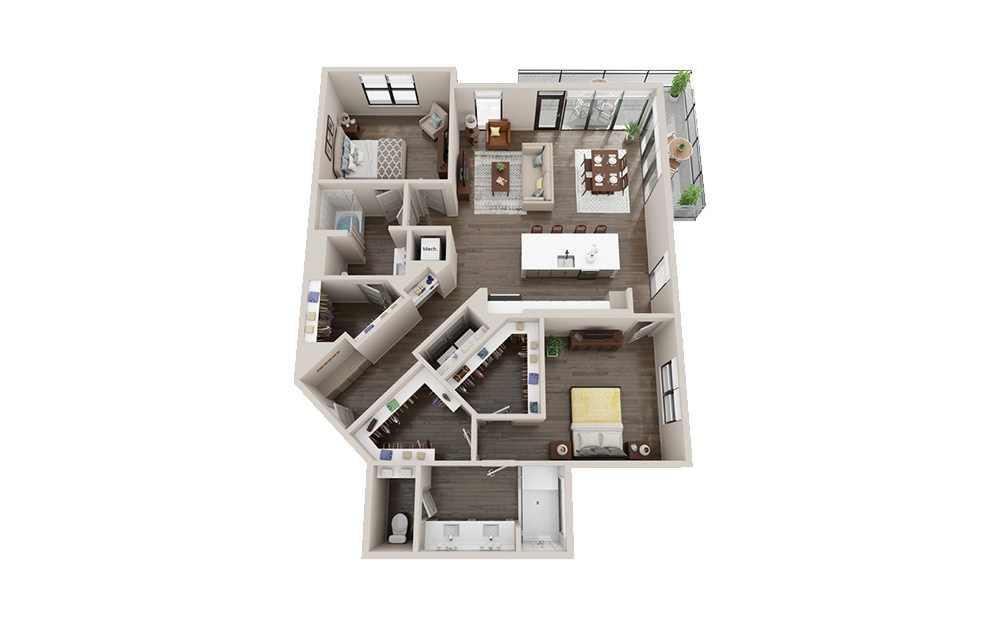 B3-C - 2 bedroom floorplan layout with 2 baths and 1486 square feet.