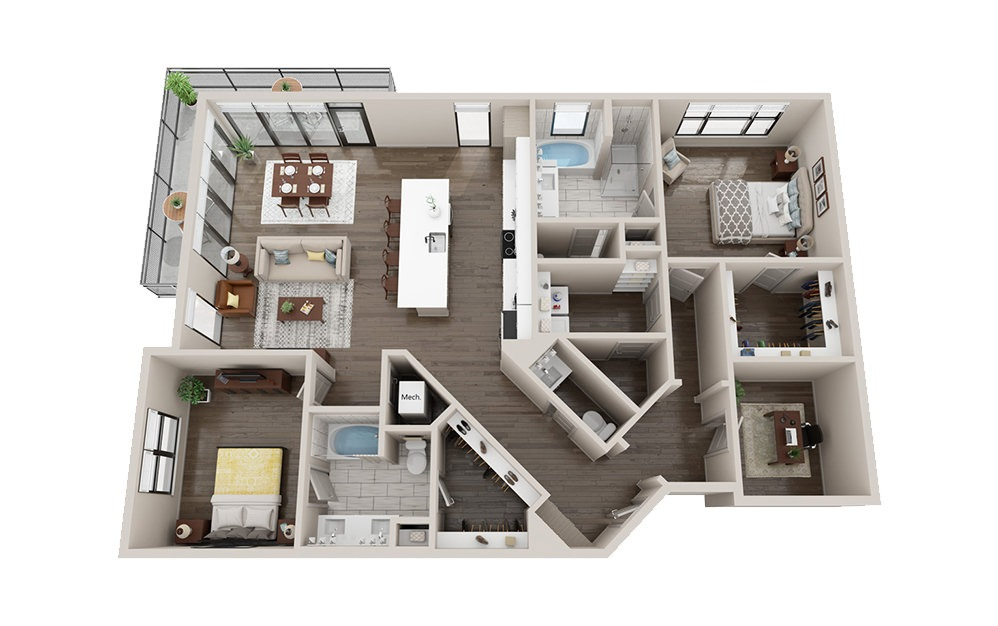 C1 with Den - 2 bedroom floorplan layout with 2 baths and 1660 square feet.