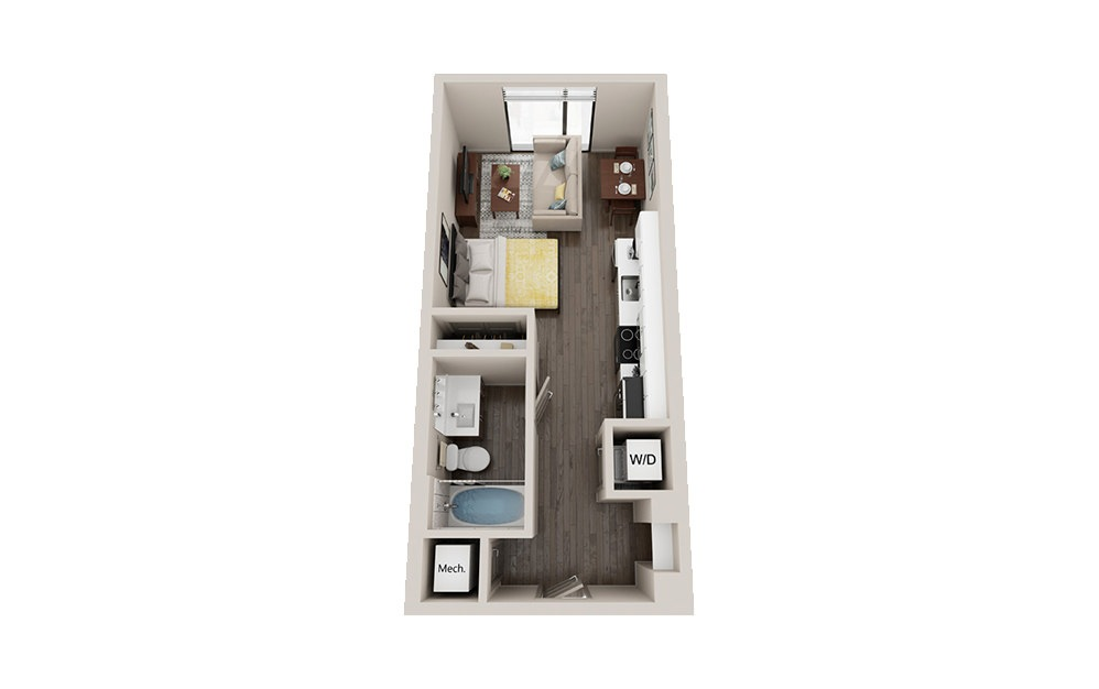S1 - Studio floorplan layout with 1 bath and 434 square feet.