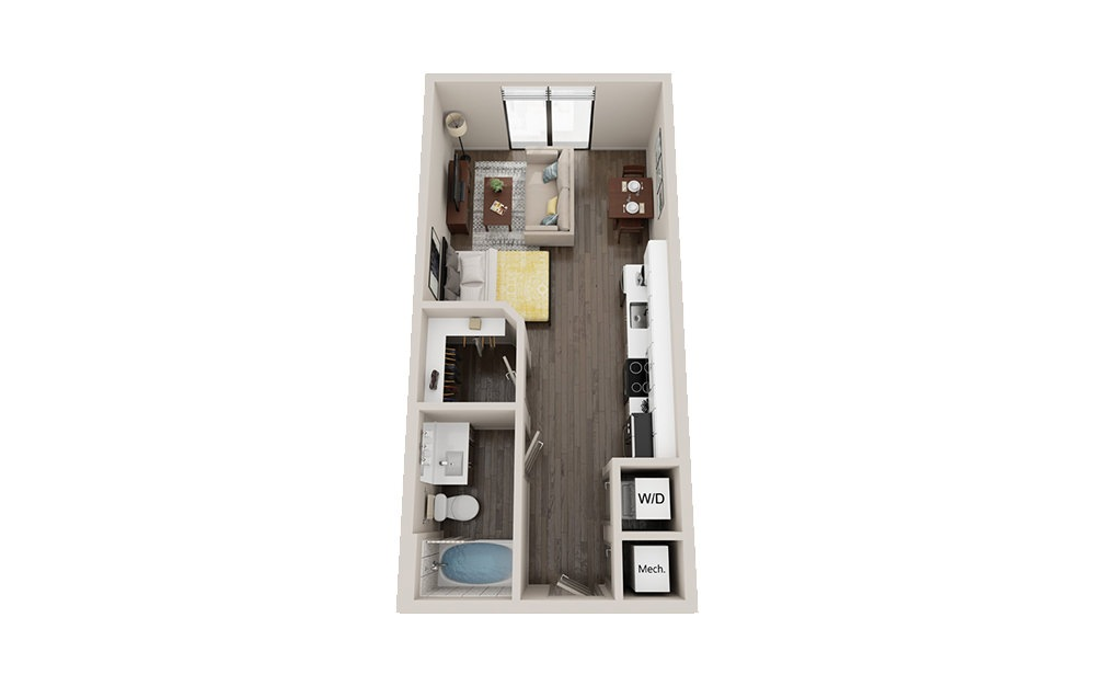 S2 - Studio floorplan layout with 1 bath and 465 square feet.